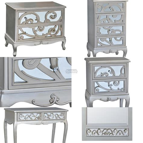 silver mirrored bedroom furniture silver paisley mirrored bedroom set 5 furniture