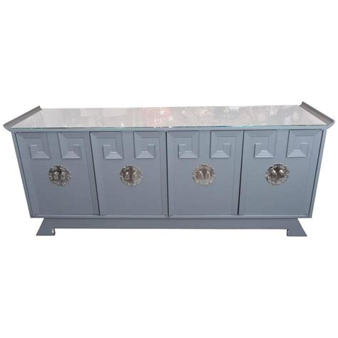 vintage grey satin lacquer dresser with glass top and