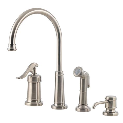pfister kitchen faucets pfister ashfield single handle standard kitchen faucet with side sprayer and soap dispenser in