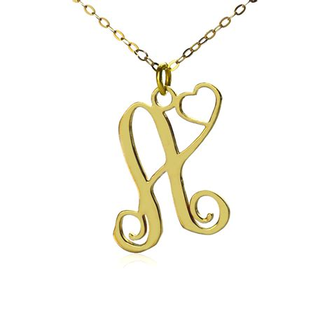 personalized one initial with monogram necklace gold