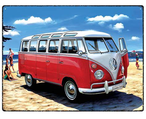 volkswagen bus beach vw samba bus beach metallschild blechschild kaufen 30x40cm