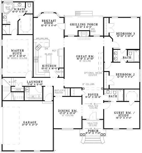 split bedroom house plans classic split bedroom design 59174nd 1st floor master
