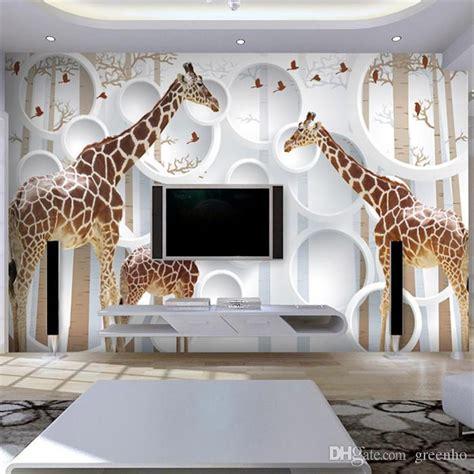 unique 3d view giraffe photo wallpaper cute animal wall