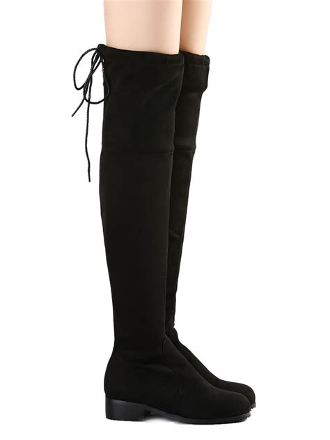 Overknee Strã Mpfe by Tops Boots Official Black Suedette Pointed Laced
