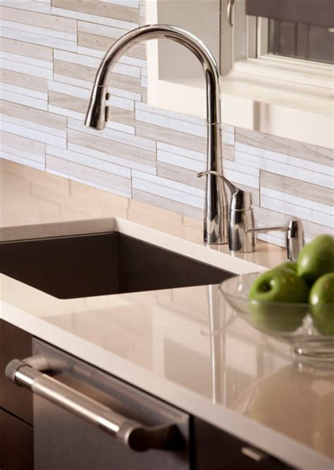 neutral modern kitchen backsplash tile contemporary