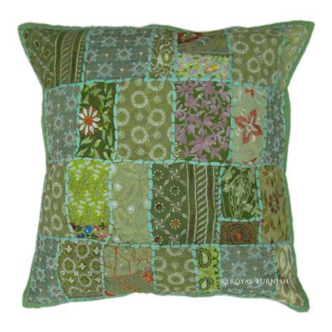 Sari Patchwork - 20 quot inch green vintage indian sari patchwork pillow