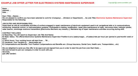 Electronic Offer Letters electronics systems maintenance supervisor offer