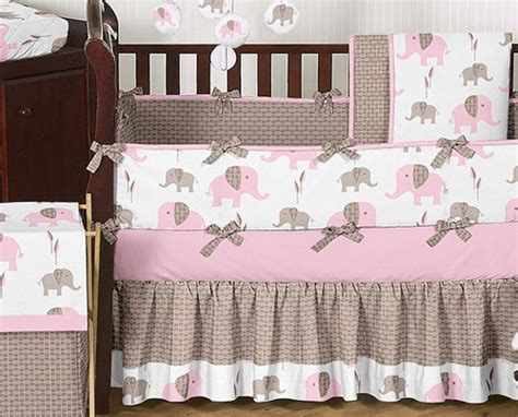 elephant baby girl bedding unique discount pink and brown mod elephant designer baby girl crib bedding set ebay