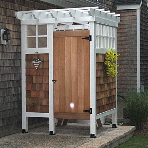 custom cedar outdoor shower and changing room yelp
