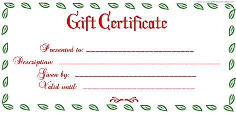 free printable blank gift certificates