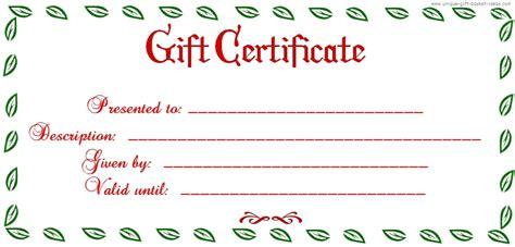 Free blank gift certificates