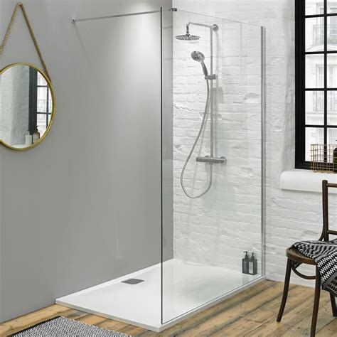 Bathroom Shower Trays Fino 1400mm Walk In Shower Screen With 25mm Shower Tray Sanctuary Bathrooms