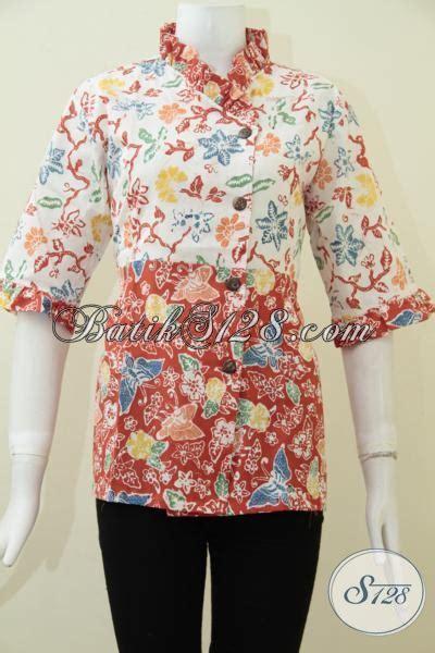 Pakaian Murah Gamis Motif Kombinasi S M L Xl 1 busana batik wanita desain dua motif keren blus batik kombinasi warna putih orange cocok untuk