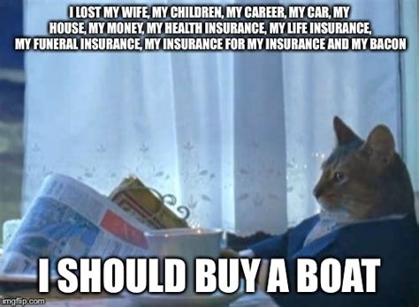 I Should Buy A Boat Cat Meme - i lost everything no biggy imgflip