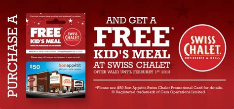 Bon Appetit Gift Card - deal free kid s meal at swiss chalet when you purchase 50 bon app 233 tit gift card