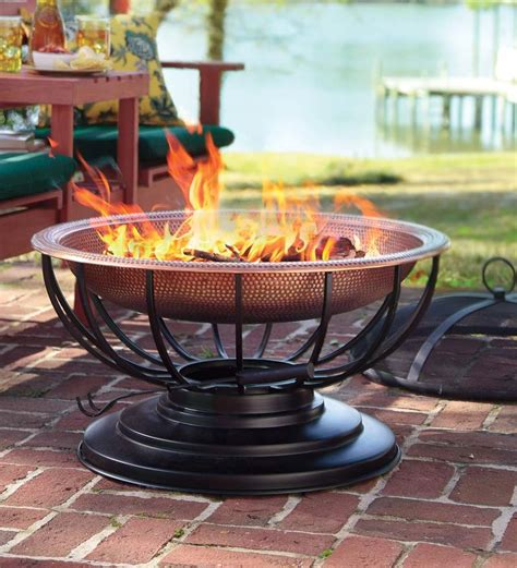 Copper Firepits Solid Hammered Copper Pit With Lid Converts To Table Pits