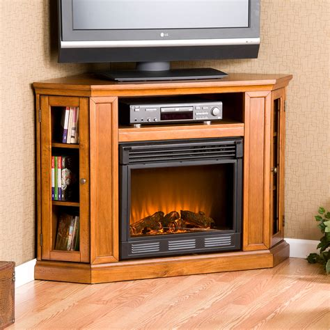 modern corner electric fireplace corner light brown wooden fireplace with shelf above also