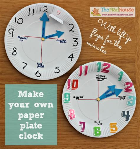 How To Make Clock Using Paper Plate - how to make a paper plate clock in the madhouse