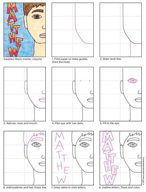 line art portrait tutorial half portrait tutorial art projects for kids