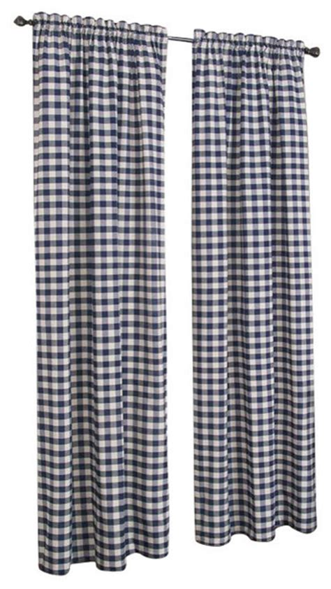 navy buffalo check curtains buffalo check pattern panel 42 quot x84 quot navy curtains by