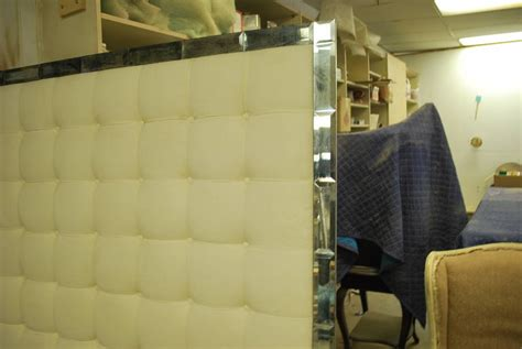 tufted mirrored headboard tufted and mirrored king size headboard at 1stdibs