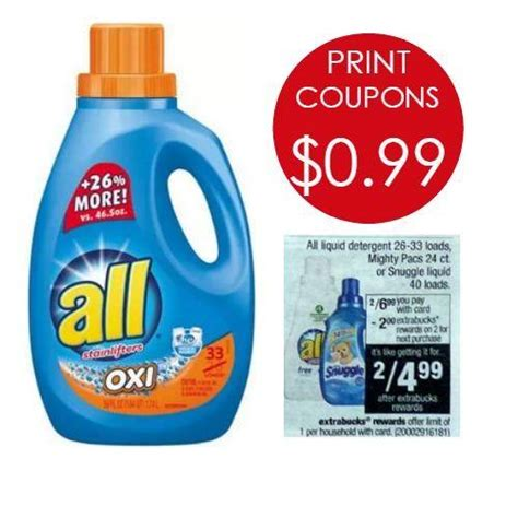 printable detergent coupons online all laundry detergent printable coupons 0 99 per bottle