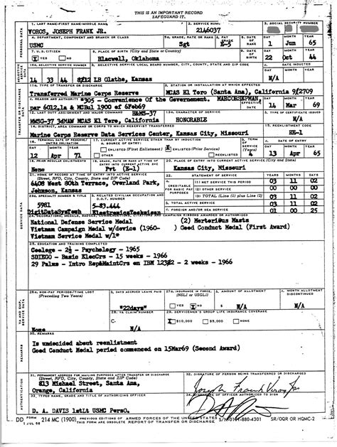 marine corps dd214 form togetherweserved ssgt joseph voros