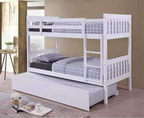 Bunk Bed With Guest Bed Lydia White Hardwood Finished Bunk Bed With Trundle Guest