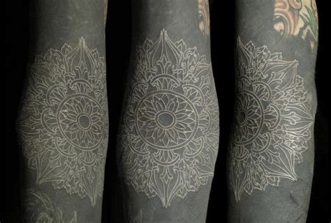mandala tattoo white thin lines white mandala in black blackwork tattoo best