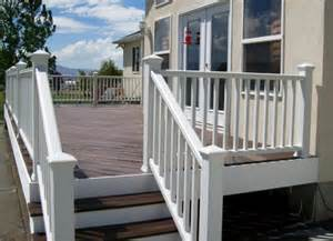 Trex Stair Railing by Trex With White Railing Utah S Fence Installation