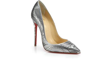heels quinno laser silver christian louboutin kristali laser cut metallic leather