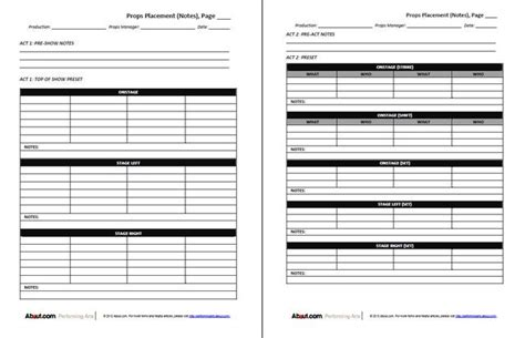 prop list template 12 best theatre forms images on stage