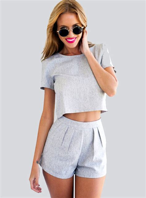 Set In Top s fashion sleeve crop top shorts 2 set