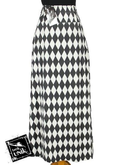 Tempat Tisu Panjang Catur rok panjang katun cantik motif papan catur bawahan rok
