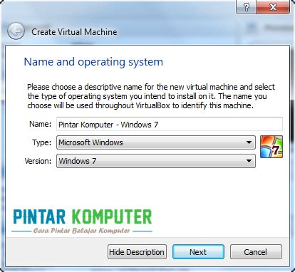 tutorial instal windows 7 di komputer tutorial cara menginstall windows 7 di virtualbox pintar