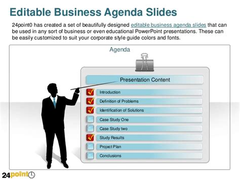 business powerpoint presentation with editable agenda slides