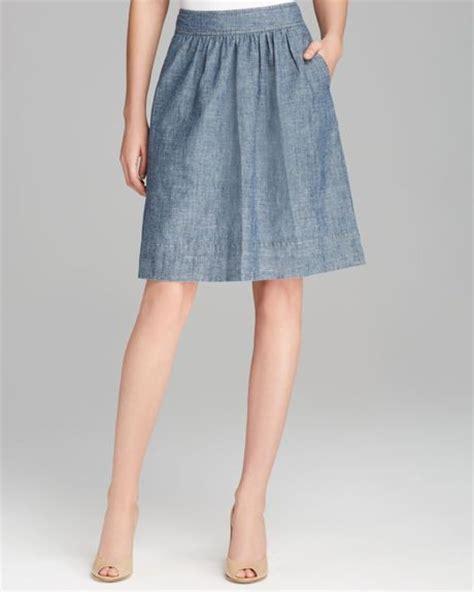 eileen fisher pleated denim aline skirt in blue denim lyst