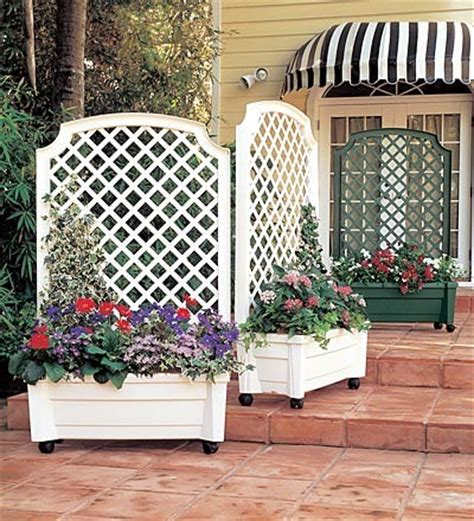 self watering green white planter trellis traditional