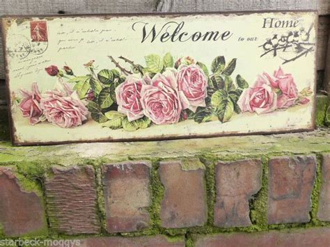 vintage shabby rose sign shabby embossed welcome to our