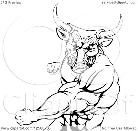 clipart   black  white mad bull  minotaur mascot