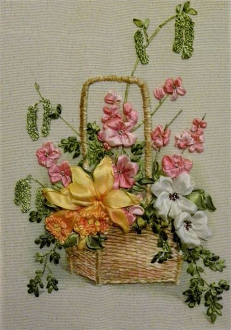1000 images about crewel embroidery ribbon on basket of flowers ribbon and