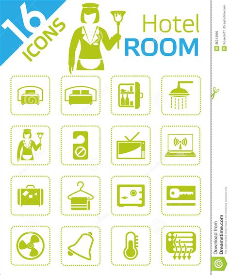 Green Bedroom Curtains hotel room icons royalty free stock image image 36343996