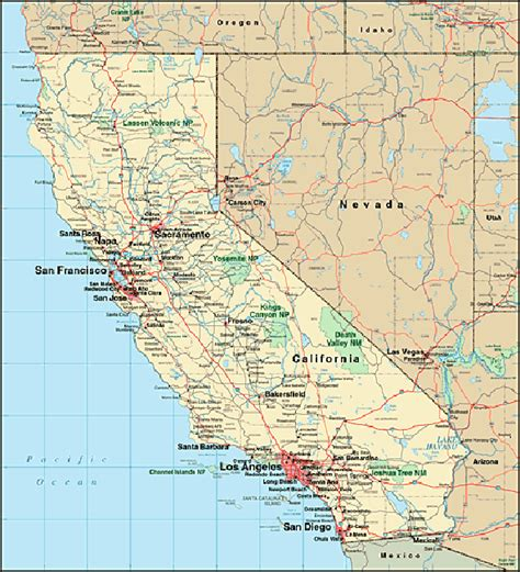 california maps california map vacation idea