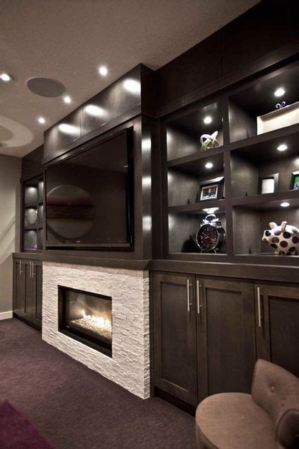 contemporary media room big screen tv fireplace maple
