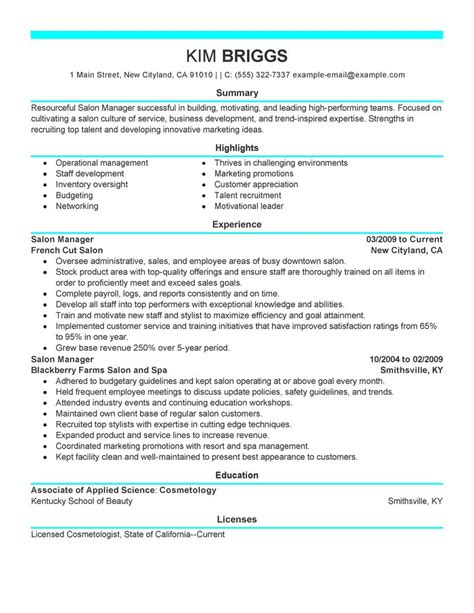 Salon Manager Resume by Salon Manager Resume Exles Krida Info