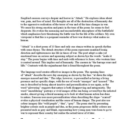 Attack Essay by Attack By Siegfried Sassoon Essay
