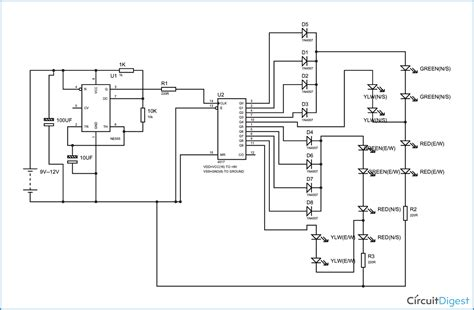 traffic light controller circuit diagram traffic get
