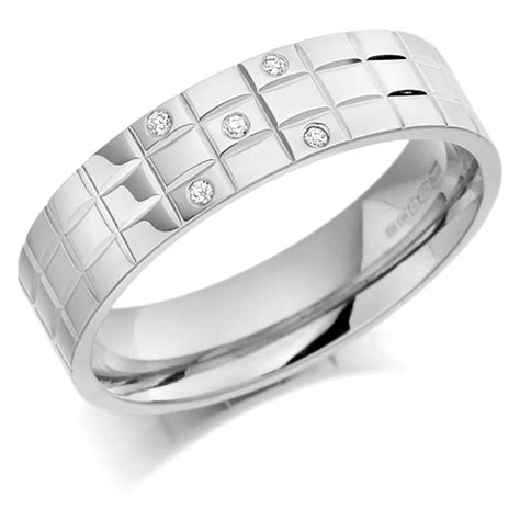 platinum gents 5mm chequer pattern wedding ring set with