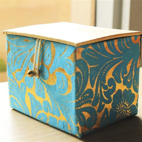 Handmade Paper Gift Box - blue handmade paper gift box shopping