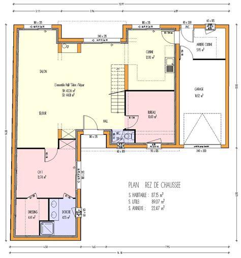 plan maison 騁age 3 chambres mod 232 les maisons 224 ossature bois page 1